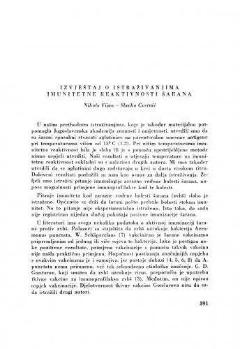 Izvještaj o istraživanjima imunitetne reaktivnosti šarana / N. Fijan i S. Cvetnić