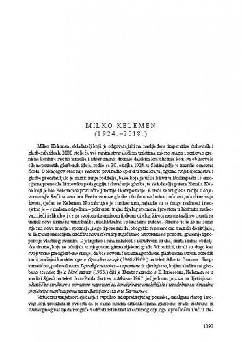 Milko Kelemen (1924.-2018.) : [nekrolog] / Seadeta Midžić