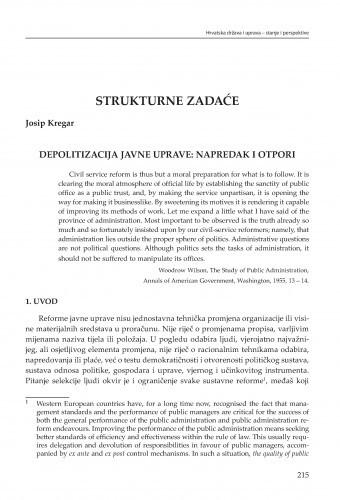 Depolitizacija javne uprave: napredak i otpori : [strukturne zadaće] / Josip Kregar