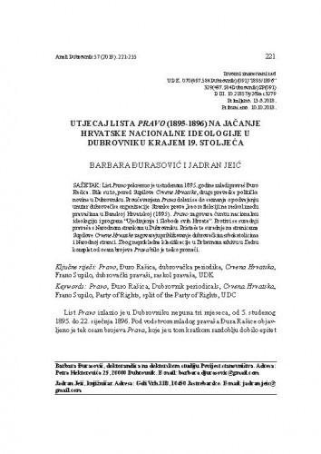 Utjecaj lista Pravo (1895-1896) na jačanje hrvatske nacionalne ideologije u Dubrovniku krajem 19. stoljeća / Barbara Đurasović i Jadran Jeić