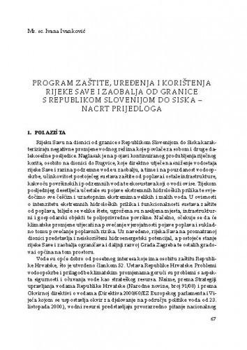 Program zaštite, uređenja i korištenja rijeke Save i zaobalja od granice s Republikom Slovenijom do Siska – nacrt prijedloga / Ivana Ivanković