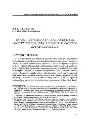 Izvanugovorna odgovornost luke nautičkog turizma u okviru hrvatskog zakonodavstva / Dorotea Ćorić