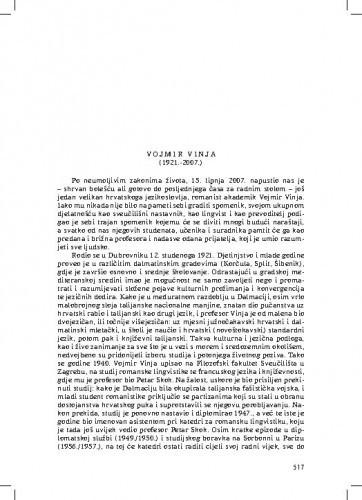 Vojmir Vinja (1921.-2007.) : [nekrolog] / August Kovačec