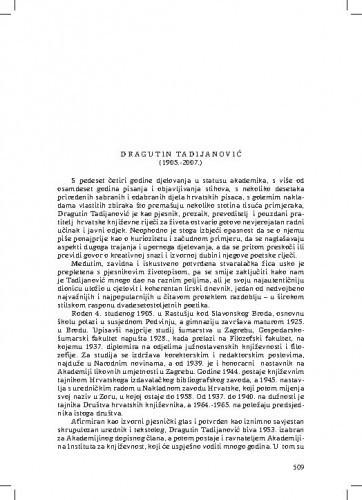 Dragutin Tadijanović (1905.-2007.) : [nekrolog] / Tonko Maroević