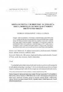 Krsna kumstva u Dubrovniku 18. stoljeća : djeca, roditelji i kumovi kao čvorovi društvenih mreža / Vedran Stojanović, Nella Lonza