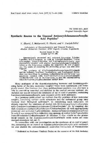 Synthetic routes to the unusual aminocyclohexanecarboxylic acid peptides / V. Škarić, J. Makarević, D. Škarić, V. Turjak-Zebić