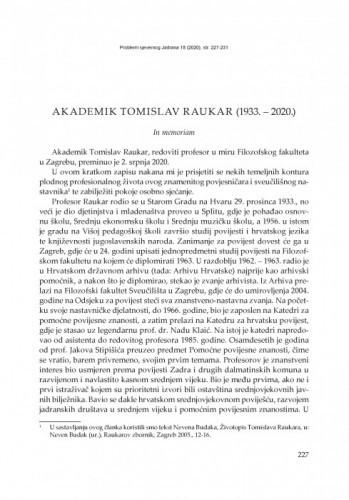 Akademik Tomislav Raukar (1933. – 2020.) : In memoriam / Elvis Orbanić