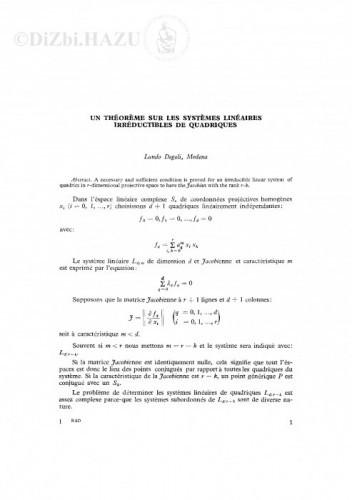 Un theoreme sur les systemes lineaires irreductibles de quadriques / L. Degoli