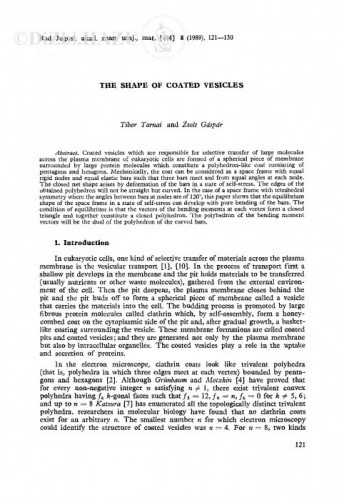 The shape of coated vesicles / Tibor Tarnai, Zsolt Gáspár