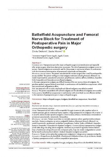 Battelfield acupuncture and femoral nerve block for treatment of postoperative pain in major orthopedic surgery / Zrinka Orešković, Sandra Morović