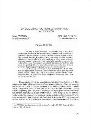 Uprava, crkva, politika i kultura na Rabu u XVI. stoljeću / Ivan Pederin