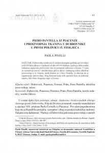 Piero Pantella iz Piacenze i proizvodnja tkanina u Dubrovniku u prvoj polovici 15. stoljeća / Paola Pinelli