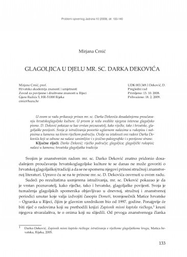 Glagoljica u djelu mr. sc. Darka Dekovića / Mirjana Crnić