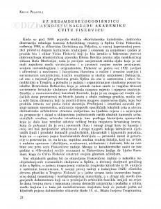 Uz sedamdesetgodišnjicu i AVNOJ-evu nagradu akademiku Cvitu Fiskoviću / Kruno Prijatelj