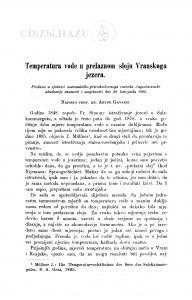 Temperatura vode u prelaznom sloju Vranskoga jezera / A. Gavazzi
