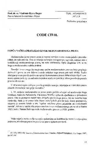 Code Civil i opća načela prava kao izvor međunarodnog prava = Le Code Civil français de 1804 et les principes généraux de droit en tant que source du droit international / Vladimir-Djuro Degan