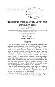 Naravoslovne crtice sa sjevero-istočne obale Jadranskog mora sabrao god. 1873. / S. Brusina
