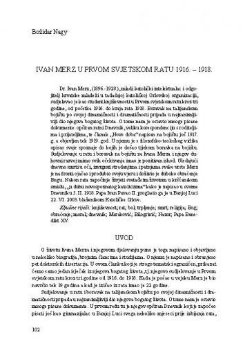 Ivan Merz u Prvom svjetskom ratu 1916.-1918. / Božidar Nagy