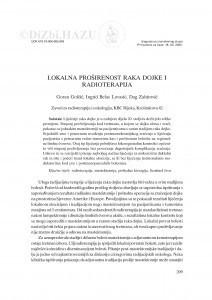 Lokalna proširenost raka dojke i radioterapija / Goran Golčić, Ingrid Belac-Lovasić, Dag Zahirović