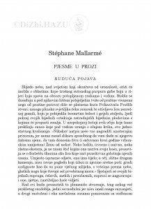 Pjesme u prozi / Stéphane Mallarmé ; preveo Zvonimir Mrkonjić