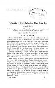 Botaničke crtice i dodatci na Floru hrvatsku za god. 1871 / Lj. Vukotinović