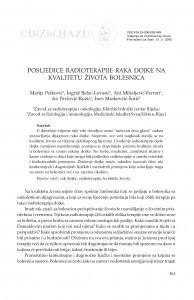Posljedice radioterapije raka dojke na kvalitetu života bolesnica / Marija Petković, Ingrid Belac-Lovasić, Ani Mihaljević-Ferrari, Ira Pavlović-Ružić, Ines Mrakovčić-Šutić