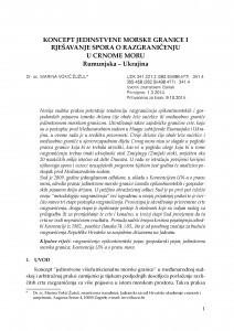 Koncept jedinstvene morske granice i rješavanje spora o razgraničenju u Crnome moru : Rumunjska - Ukrajina / Marina Vokić Žužul