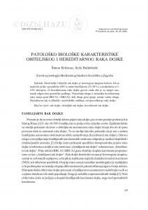 Patološko biološke karakteristike obiteljskog i hereditarnog raka dojke / Šimun Križanac, Stela Bulimbašić