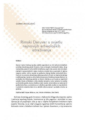 Rimski Daruvar u svjetlu najnovijih arheoloških istraživanja / Goran Jakovljević