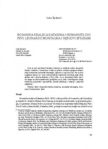 Bosanska kraljica Katarina i humanisti, dio prvi: Leonardo Montagna i njegovi epigrami / Luka Špoljarić