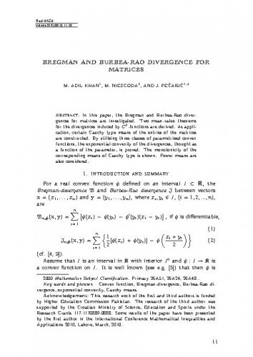Bregman and Burbea-Rao divergence for matrices