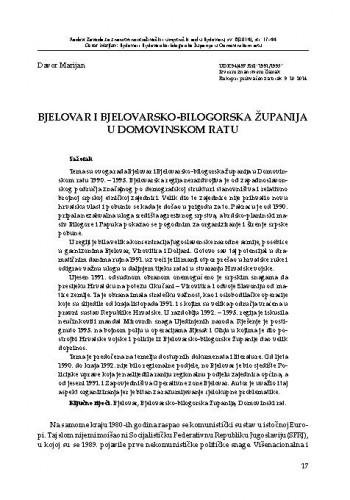 Bjelovar i Bjelovarsko-bilogorska županija u Domovinskom ratu