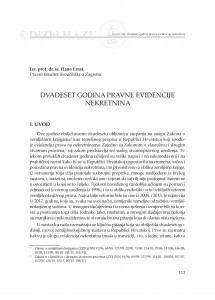 Dvadeset godina pravne evidencije nekretnina : [uvodno izlaganje] / Hano Ernst