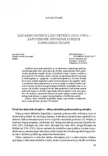 Zadarski patricij Lujo Detriko (1672.-1749.) - zapovjednik hrvatske konjice (Cavalleria Croati)