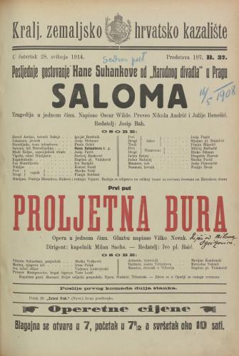 Saloma ; Proljetna bura Tragedija u jednom činu ; Opera u jednom činu