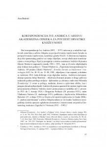 Korespondencija Ive Andrića u arhivu Akademijina Odsjeka za povijest hrvatske književnosti