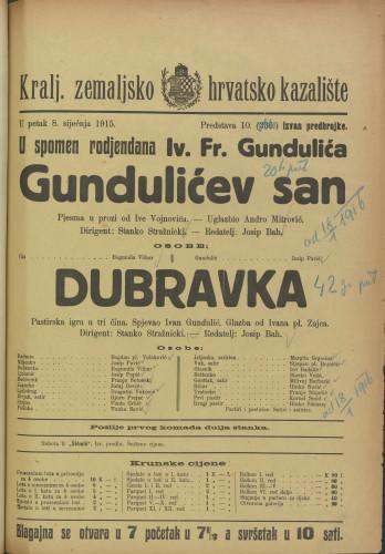 Gundulićev san ; Dubravka : Slika od Ive Vojnovića ; Pastrska igra u tri čina