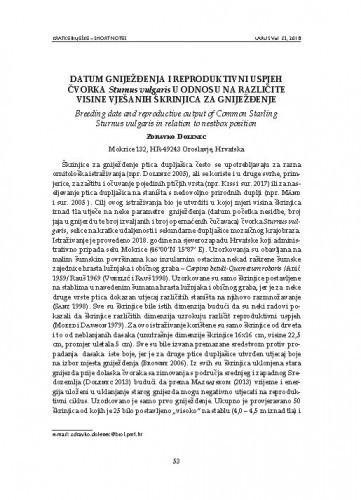 Datum gniježđenja i reproduktivni uspjeh čvorka Sturnus vulgaris u odnosu na različite visine vješanih škrinjica za gniježđenje : [short note] / Zdravko Dolenec