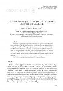 Osvrt na rak dojke u starijih žena s gledišta gerijatrijske medicine / Zijad Duraković, Mislav Grgić