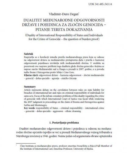 Dualitet međunarodne odgovornosti države i pojedinca za zločin genocida : pitanje tereta dokazivanja / Vladimir-Đuro Degan
