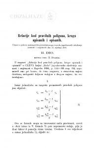 Relacije kod pravilnih poligona, krugu upisanih i opisanih / E. Doležal