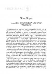 Maletić-Šimunovićev Hrvatski prezimenik / Milan Moguš