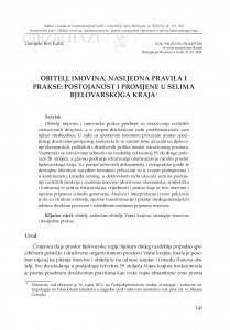 Obitelj, imovina, nasljedna pravila i prakse: postojanost i promjene u selima bjelovarskoga kraja / Danijela Birt Katić