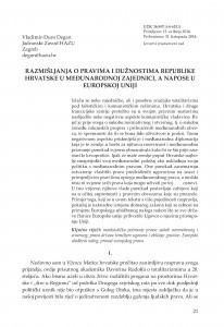 Razmišljanja o pravima i dužnostima Republike Hrvatske u međunarodnoj zajednici, a napose u Europskoj uniji / Vladimir-Đuro Degan