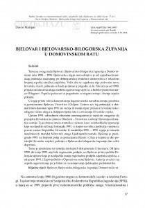 Bjelovar i Bjelovarsko-bilogorska županija u Domovinskom ratu / Davor Marijan