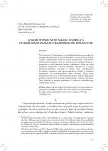 Iz korespondencije Nikole Andrića s Vatroslavom Jagićem u razdoblju od 1890. do 1918. / Ivana Mandić Hekman