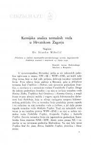 Kemijska analiza termalnih vrela u Hrvatskom Zagorju / S. Miholić