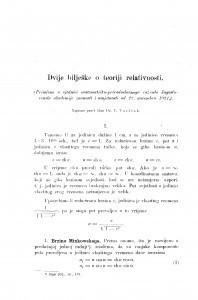 Dvije bilješke o teoriji relativnosti / V. Varićak