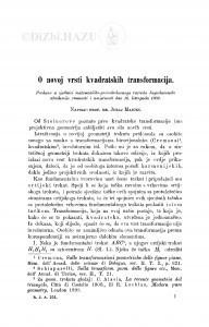 O novoj vrsti kvadratskih transformacija / J. Majcen