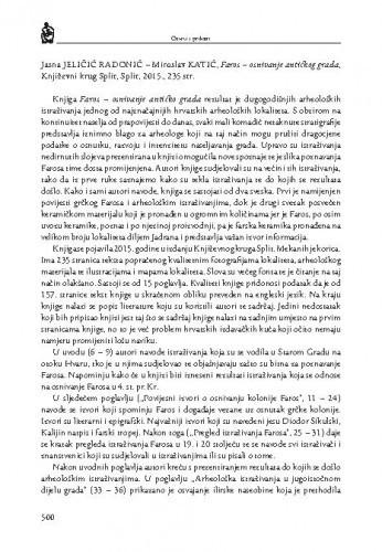 Jasna Jeličić Radonić-Miroslav Katić, Faros - osnivanje antičkog grada, Književni krug Split, Split, 2015. : [prikaz] / Krešimir Mijić